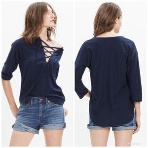 [Madewell] Libra Lace Up 3/4 Sleeve Top